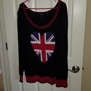 Tortid heart union jack sweater